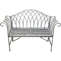 Charles Bentley Wrought Iron Bench - Grey