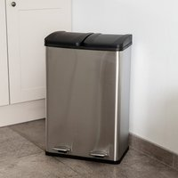 Addis 60L Stainless Steel Recycle Pedal Bin - Silver