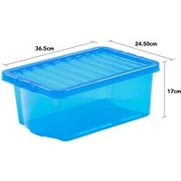 Wham Crystal Blue Storage Box with Lid 10L - Set of 5