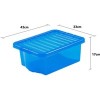 Wham Crystal Blue Storage Box with Lid 16L - Set of 5
