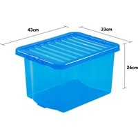 Wham Crystal Blue Storage Box with Lid 24L - Set of 3
