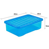 Wham Crystal Blue Under Bed Storage Box with Lid 32L - Set of 5