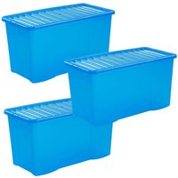 Wham Crystal Blue Storage Box with Lid 110L - Set of 3