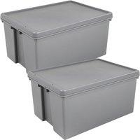 Wham Bam Grey Heavy Duty Upcycled Box & Lid 96L - Set of 2