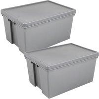 Wham Bam Grey Heavy Duty Upcycled Box & Lid 150L - Set of 2