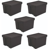 Wham Bam Black Heavy Duty Recycled Box with Lid 45L - Set of 5