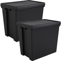 Wham Bam Black Heavy Duty Recycled Box with Lid 92L- Set of 2