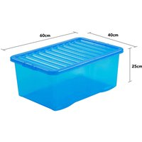 Wham Crystal Blue Storage Box with Lid 45L- Set of 5