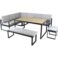 Charles Bentley Extrusion Aluminium Corner Sofa Set - Grey