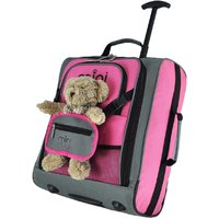 Aerolite Mini Max Childrens Trolley Bag with Toy Pouch - Pink