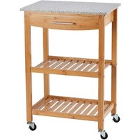 Clifford James Bamboo Kitchen Trolley with Granite Worktop