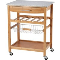 Clifford James Bamboo Kitchen Trolley with Granite Worktop - Large