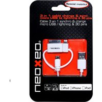 NeoXeo 3-in-1 Lightning/Micro USB Cable - White
