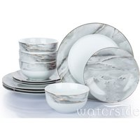 The Waterside 12 Piece Marble & Gold Dinner Set