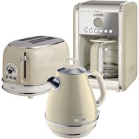 Ariete Vintage 2-Slice Toaster, 1.7L Jug Kettle, and 12-Cup Filter Coffee Maker - Cream