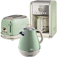 Ariete ARPK8 Vintage 2-Slice Toaster, 1.7L Fast Boil Jug Kettle, and 12-Cup Filter Coffee Maker - Green