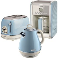 Ariete ARPK9 Vintage 2-Slice Toaster, 1.7L Jug Kettle, and 12-Cup Filter Coffee Maker - Blue
