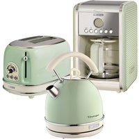 Ariete ARPK14 Vintage 2-Slice Toaster, 1.7L Dome Kettle, and 12-Cup Filter Coffee Maker - Green