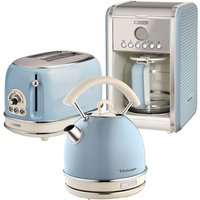 Ariete ARPK15 Vintage 2-Slice Toaster, 1.7L Dome Kettle, and 12-Cup Filter Coffee Maker - Blue