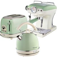 Ariete Vintage 2-Slice Toaster, 1.7L Dome Kettle, and Espresso Coffee Maker - Green
