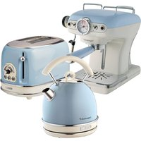 Ariete Vintage 2-Slice Toaster, 1.7L Dome Kettle, and Espresso Coffee Maker - Blue