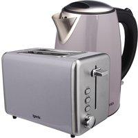 Igenix 1.7L Stainless Steel Kettle & 2-Slice Toaster - Grey