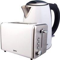 Igenix 1.7L Stainless Steel Kettle & 2-Slice Toaster - White