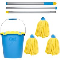Flash 100% Microfibre Mop With Refills and Mop Bucket