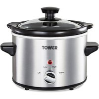Tower 1.5L Stainless Steel Slow Cooker - Silver