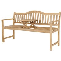 Pacific Lifestyle Richmond Light Teak Acacia Wood Bench with Pop-Up Table