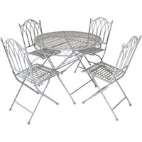 Charles Bentley Wrought Iron 4 Seater Dining Set - Grey