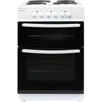 Haden HEST60W 60cm Freestanding Twin Cavity Electric Cooker with Solid Plate Hob - White
