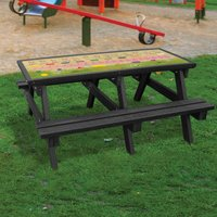 NBB Recycled Furniture NBB ABC Activity Top Recycled Plastic Table with Benches - Black