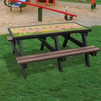 NBB Recycled Furniture NBB ABC Activity Top Recycled Plastic Table with Benches - Brown