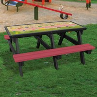 NBB Recycled Furniture NBB ABC Activity Top Recycled Plastic Table with Benches - Cranberry Red