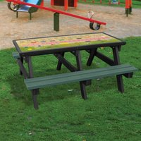 NBB Recycled Furniture NBB ABC Activity Top Recycled Plastic Table with Benches - Green