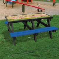 NBB Recycled Furniture NBB ABC Activity Top Recycled Plastic Table with Benches - Blue