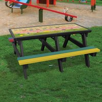 NBB Recycled Furniture NBB ABC Activity Top Recycled Plastic Table with Benches - Multi-Coloured