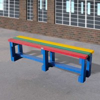 NBB Recycled Furniture NBB Junior Recycled Plastic 150cm Backless Bench - Muti-Coloured