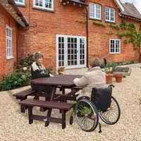 NBB Recycled Furniture NBB Recycled Plastic Octagonal Picnic Table with one Wheelchair Space - Brown