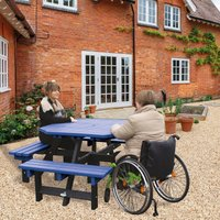 NBB Recycled Furniture NBB Recycled Plastic Octagonal Picnic Table with one Wheelchair Space - Blue