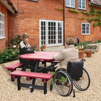 NBB Recycled Furniture NBB Recycled Plastic Octagonal Picnic Table with one Wheelchair Space - Cranberry Red