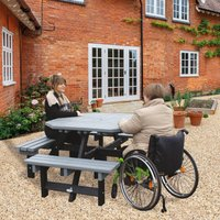 NBB Recycled Furniture NBB Recycled Plastic Octagonal Picnic Table with one Wheelchair Space - Grey