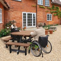 NBB Recycled Furniture NBB Recycled Plastic Octagonal Picnic Table with one Wheelchair Space - Light Brown