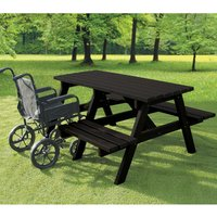 NBB Recycled Furniture NBB A-Frame Wheelchair Access Recycled Plastic Picnic Table - Black