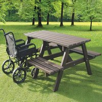 NBB Recycled Furniture NBB A-Frame Wheelchair Access Recycled Plastic Picnic Table - Brown