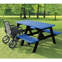 NBB Recycled Furniture NBB A-Frame Wheelchair Access Recycled Plastic Picnic Table - Blue