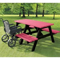 NBB Recycled Furniture NBB A-Frame Wheelchair Access Recycled Plastic Picnic Table - Cranberry Red