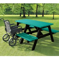 NBB Recycled Furniture NBB A-Frame Wheelchair Access Recycled Plastic Picnic Table - Green