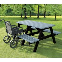 NBB Recycled Furniture NBB A-Frame Wheelchair Access Recycled Plastic Picnic Table - Grey